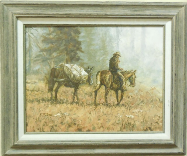 Richard Thomas Oil on Board Painting of a Cowboy