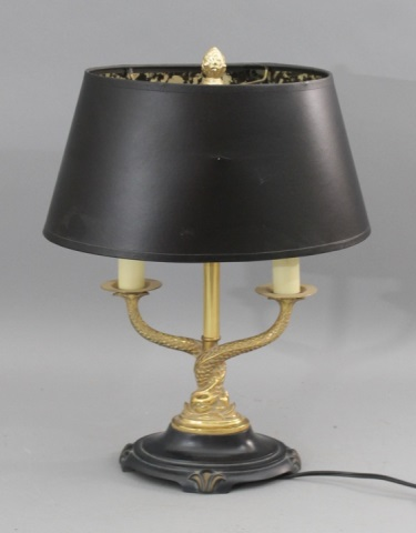 small gold brass serpent lamp w black oval shade. Black Bedroom Furniture Sets. Home Design Ideas