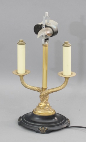 lot 165 small gold brass serpent lamp w black oval shade. Black Bedroom Furniture Sets. Home Design Ideas
