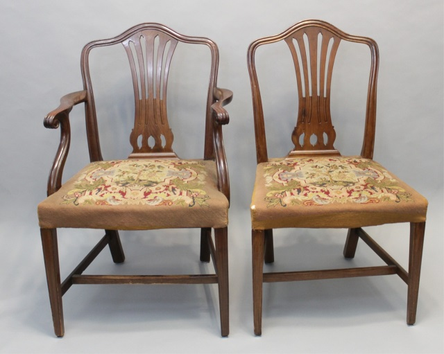 6 Antique Sheraton Style Dining Chairs W Tapestry