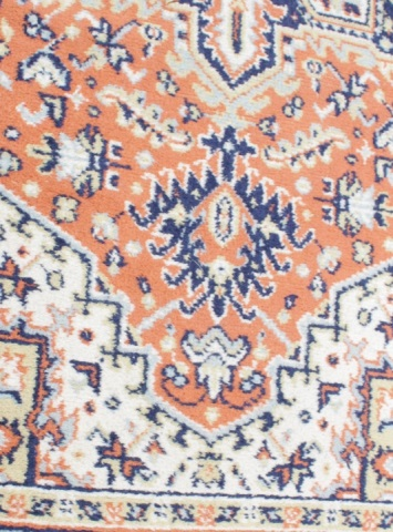 Wool Small Area Rug Shades Of Orange Tan Navy