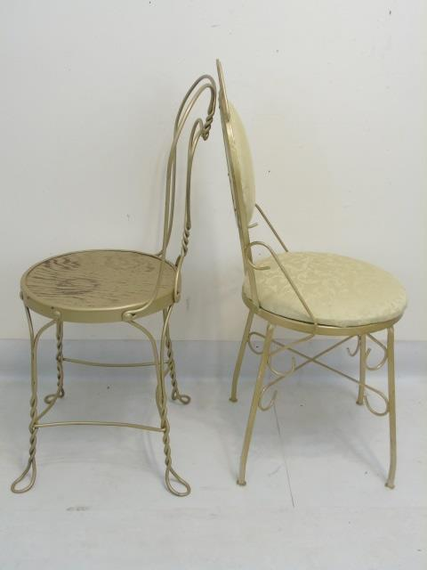 Four vintage wrought iron cafe dining chairs - Vintage wrought iron chairs ...