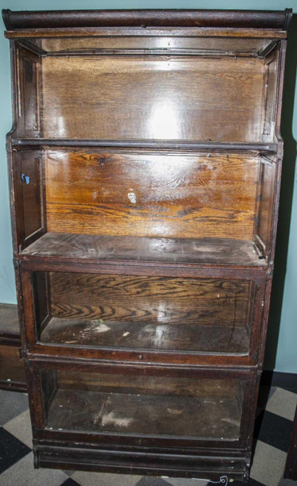 Antique Glass Front Lawyers Bookcase