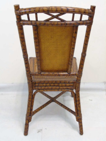 Antique bent bamboo rattan side chair for Bent bamboo furniture