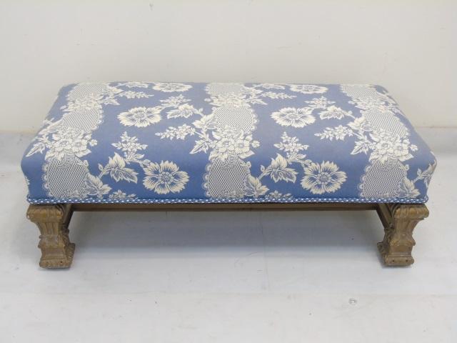 Designer Blue White Upholstered Boudoir Bench