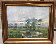 Ole Due- Landscape w/Marsh & Trees- Oil on Canvas