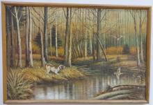 Marsh Scene w/Hunting Dog-