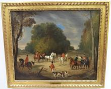 John Ferneley, Sr.- Fox Hunt Scene- Oil on Canvas