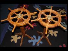 Pair of Antique Ship Wheels/End Tables