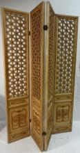 Vintage Gilt Folding Dressing Screen with 4 Panels