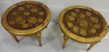 Pair of Mid-Century Round Gilt Occasion Tables