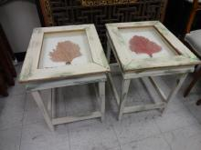 2 Vintage Swedish End Tables w/Coral Seafans