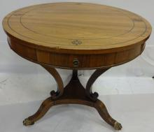 Regency-Style Rosewood Circular End Table w/Drawer