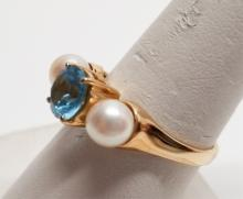 Estate 14kt Yellow Gold Blue Topaz & Pearl Ring