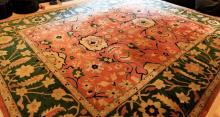 Large Contemporary Oriental Hand Knot Wool Carpet