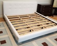 Contemporary White Tufted Suede King Size Bed