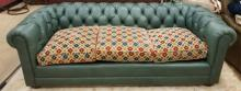 Green Leather Lewis Mittman Chesterfield Sofa