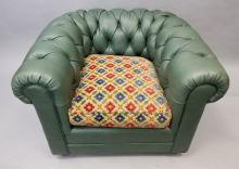 Green Leather Lewis Mittman Chesterfield Chair