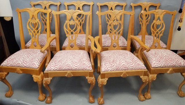 chippendale custom upholstered dining room chairs
