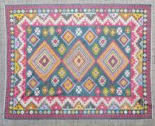 Southwestern Pattern Kilim Style Carpet Blue & Red