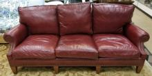Contemporary Traditional Oxblood Red Leather Sofa