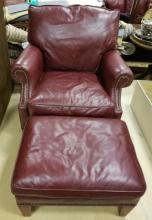 Contemporary Traditional Oxblood Red Leather Chair