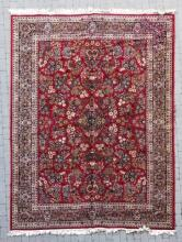 Red & Navy Oriental Rug with Border Design