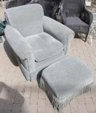 Sea Foam Blue Velour Club Chair & Fringed Ottoman