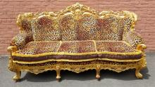 Large Leopard Print & Gold Settee with Fringe Trim