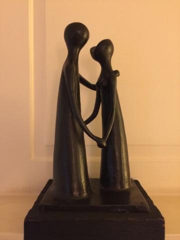 Ben Zvi - Israeli Bronze Sculpture on Stand