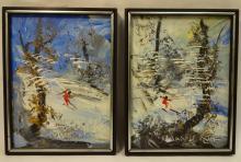 Pair of Morris Katz Snowscapes/Oil on Masonite