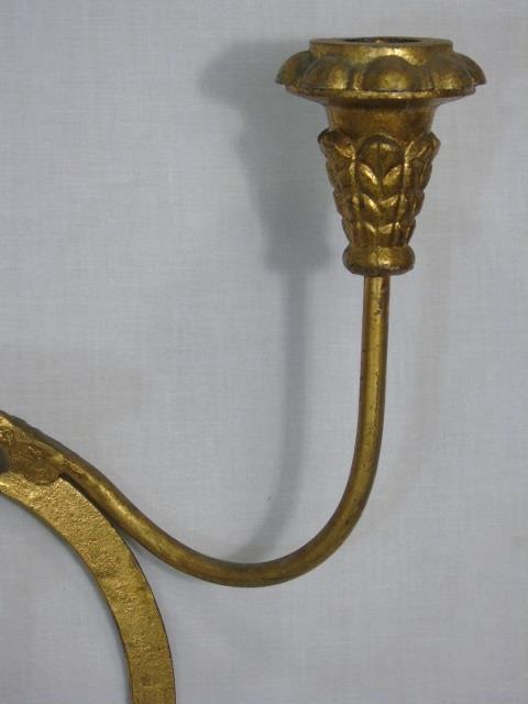 Vintage Gold Tone Metal Multi Arm Wall Sconce