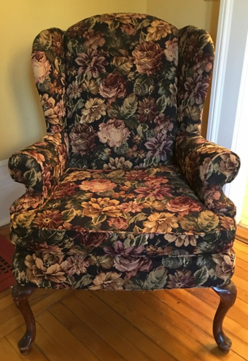 Picture of: Sold Price Queen Anne Style Upholstered Wing Back Arm Chair December 6 0118 11 00 Am Est