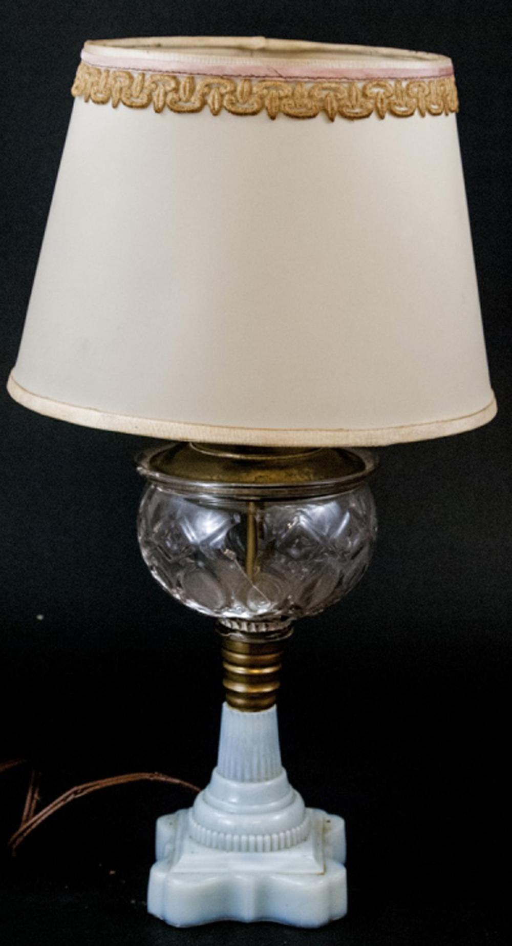 Vintage Milk Glass Molded Glass Table Lamp