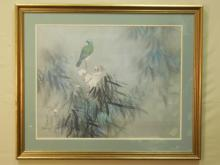Print of Bird on Tree Branch Signed Daid Lee