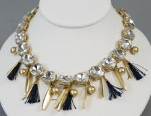Costume Jewelry Rhinestone & Gold Tone Necklace