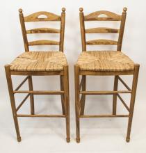 Two Wicker & Wood Bar Stools