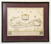 Framed & Matted Vintage Map Of The Bermudas