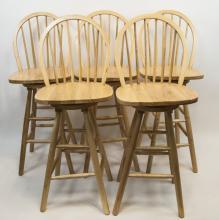 Set Of Five Contemporary Wood Bar Stools