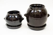 Two Vintage Korean Glazed Pottery Kimchi Pots