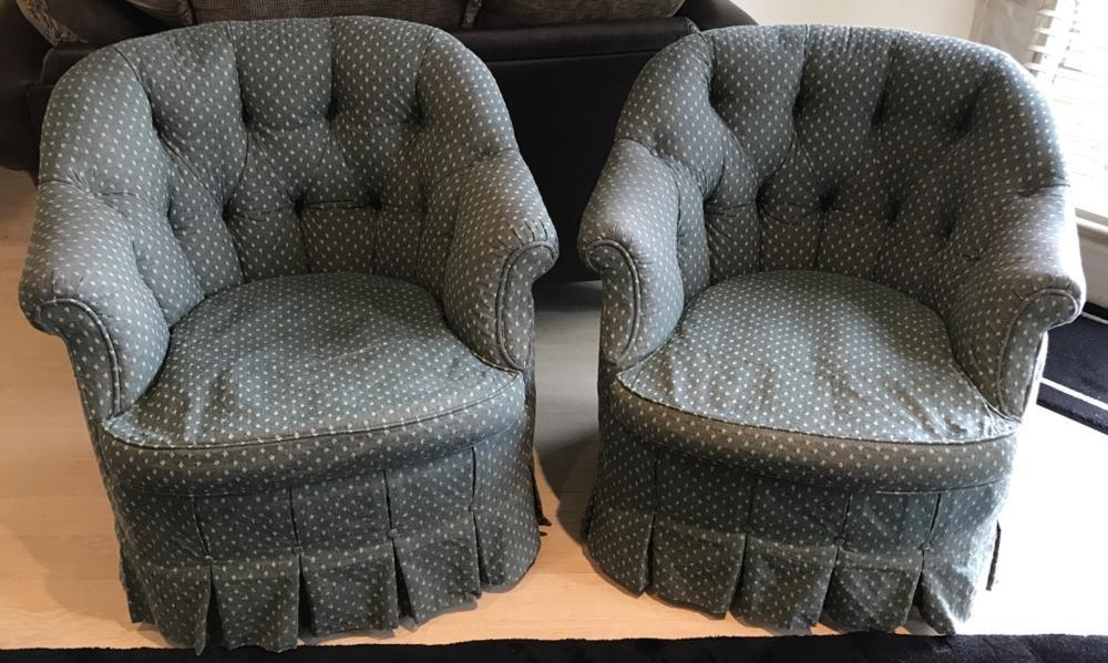 Outstanding 2 Custom Upholstered Chesterfield Slipper Chairs Creativecarmelina Interior Chair Design Creativecarmelinacom