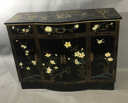 Asian lacquer finish console cabinet for Asian console cabinet
