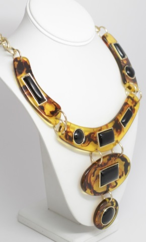 Large vintage faux tortoise shell costume necklace for Real tortoise shell jewelry