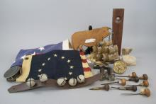 Lot of Vintage Americana, Flags, Carvings, Tools