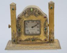Antique Czech Glass Crystal Gilt Metal Clock