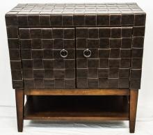 Mid Century Leather Faced Storage Cabinet
