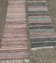 Two Handmade Woven Rag Rug Carpet Runners