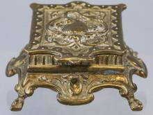 Antique 19th C Victorian Ormolu Swan Motif Inkwell