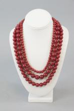 Costume Synthetic Red Stone and Sterling Necklace