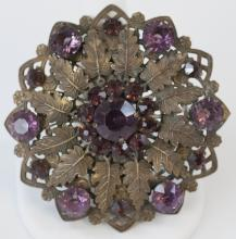 Large Vintage Costume Jewelry Statement Brooch